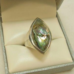 Silver Ring w/Crystal Quartz Over Paua Shell, Sz 8